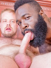 Kinky gay threesome session with a horny white dude and two hung black guys