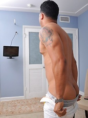 Horny Latino stud watches porn and makes his fat pecker explode with jizz