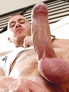 Bald and inked British stud simply loves tugging on his stiff meat pole