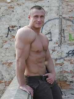 Lukas Havel models his stunningly muscular body and makes his dick hard