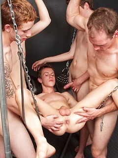 Young boy gets gangbang  from four HelixStudio twink models
