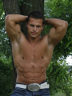 Fantastically muscular and sexy Phil Helm in a sexy striptease with outdoor pics