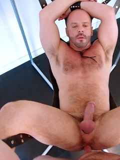 Sexy gay daddies have great anal sex in a swing and enjoy the balls deep pleasures