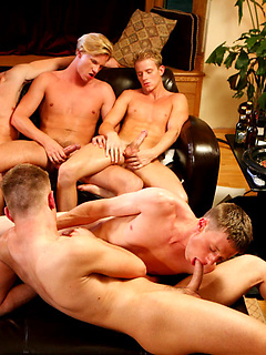 Gay orgy with gorgeous hard body guys sucking cock and fucking ass