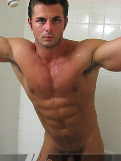 Frank Defeo flexes his huge muscles and strokes his throbbing shaft hard