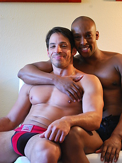 Black hottie in the hotel room with a white guy for muscular flip fucking anal sex