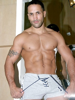 Incredibly handsome and muscular dude poses sensually in his underwear