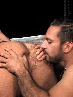 Rimming that hairy bottom asshole leaves it wet for his hard dick to fuck it