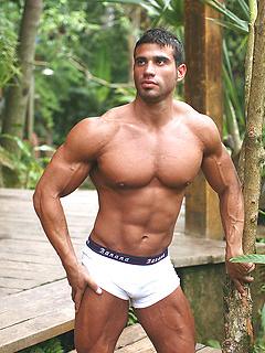 Body building Latin hottie Gustavo Levu is sexy outdoors in tight briefs
