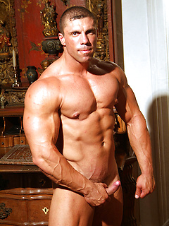 Sexy Polish body builder whips out his cock and strokes erotically as his muscles bulge