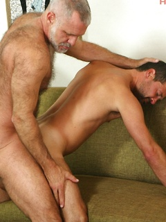 Hairy gay silver daddy with a gorgeous big cock fucks a sexy younger ass