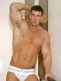 Body building hunk Zeb Atlas pulls his gorgeous cock out of his jockstrap