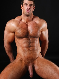 Hairy chest body builder Zeb Atlas flexes his perfection and impresses