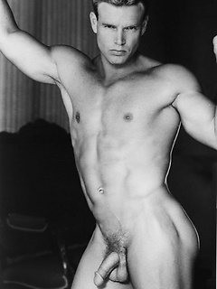 Vintage gay black and white pics of a gay hunk with a perfect hard body