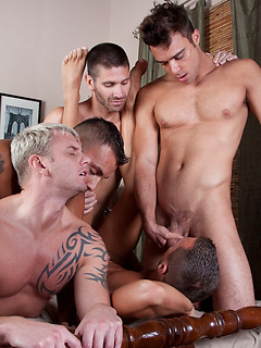 Intense fay orgy session starring rather horny and well-endowed stallions