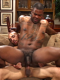 Pierced and tattooed black bottom sucks dick passionately and gets fucked bare