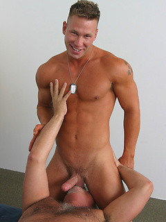 Horny old gay guy Jake Cruise strips the young hunk naked and sucks his cock