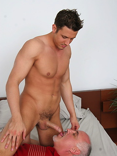 Daddy treats the hot young guy to a worshipful blowjob with a dose of ass play