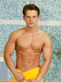 Strong Euro dude makes his shaft get up while taking a rather hot shower