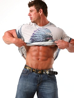 Body building god Zeb Atlas flexes his muscles and shows off how perfect he looks