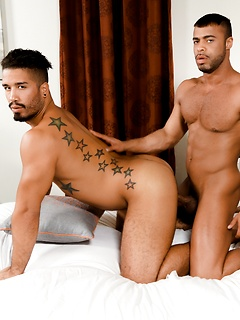 Trey Turner bends over the bed so a horny dude can bang his tight asshole