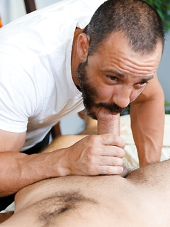 Bearded dude gets talked into sucking a dick before he gets his ass banged