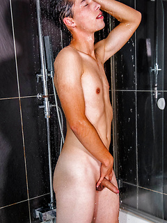 Naughty guy likes to jerk off his dick while he masturbates with a dildo