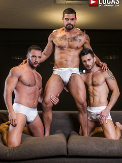Three handsome gay guys finally get to fuck each other's tight assholes