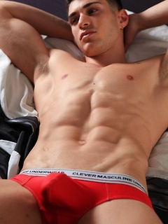 Handsome dude likes to tease his fans while posing in his tight underwear