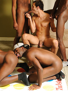 Five black gay guys have an orgy after an inspiring game of Twister