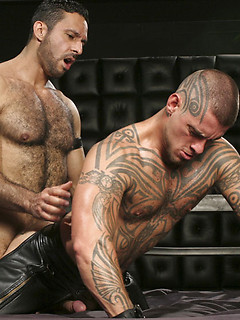 Leather hunks with hairy chests and sexy ink suck dick and fuck in their kink dungeon