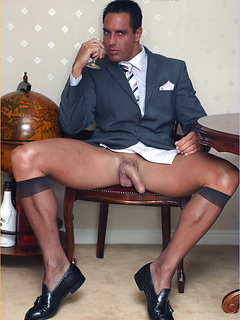 Horny stockings-wearing stud makes his dick cum and tastes his own sperm