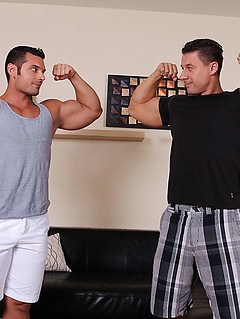 Two incredibly muscular dudes get to pummel each other's tight buttholes