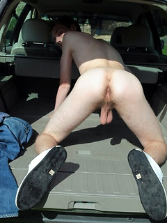 Twink parks his car and strips in the grass on a beautiful day outdoors
