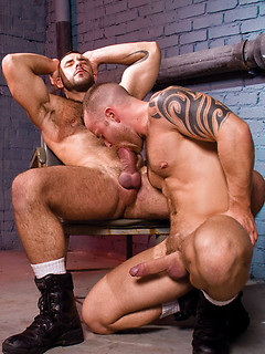 Two ripped dudes simply love plugging their tight assholes in the dungeon