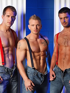 Suspenders and jeans on three hunky guys with hot abs that fuck
