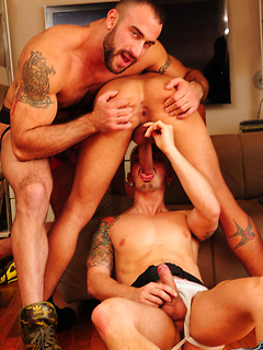 Bunch of muscular and horny stallions suck dicks and have their asses drilled