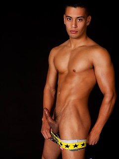 Young sexy dude becomes a model so he gets naked and poses on the couch