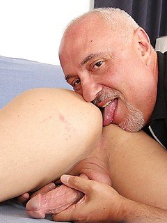 Cocksucking and ass licking gay daddy just wants to pleasure this cute young guy