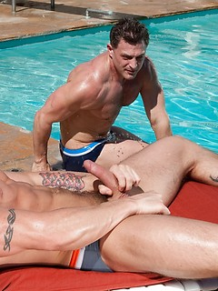 Poolside fun with two gorgeous gay hunks that are horny for ass fucking
