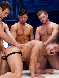 This horny bottom stays on his hands and knees for a long gangbang