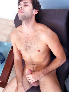 His dick is thick and sexy and the solo Latino has fun stroking and measuring it