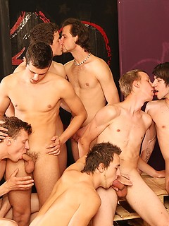 Group of horny gay guys takes turns at fucking each other's tight butts