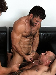 Hot and hard bodies in a gay threesome with these guys that love fucking ass
