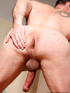 Big cock hottie with a beard strips and strokes his manly shaft to arouse