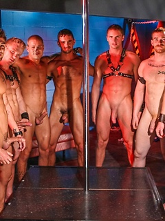Hunky gay strippers in the night club have a huge orgy with the finest anal sex