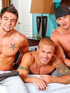 Hunky trio has an incredible afternoon of anal sex together and they all get off
