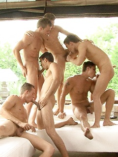 Six smoking hot Euro dudes get around to pleasuring their thick meat poles