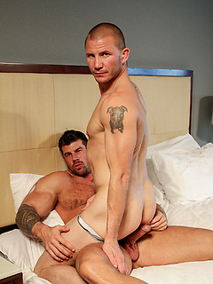 Tattooed gay dude gets talked into sucking and riding a cock while he moans
