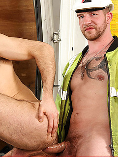 Construction workers with sexy beards and hard bodies have gay anal sex